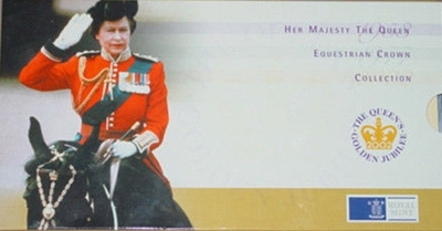 2002 HM QEII Golden Jubilee Equestrian 3 £5 Crown Collection